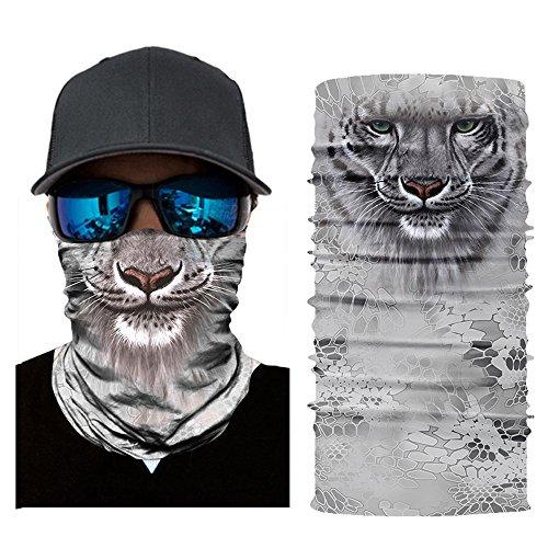Colorful Erwachsene Multifunktionstuch | Sturmmaske | Bandana | Schlauchtuch | Halstuch für Motorrad Fahrrad Ski Paintball Gamer Karneval Kostüm 3D Tiere Maske (A)