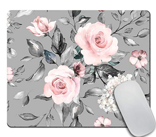 Amcove Spring Flowers and Leaves Mousepad Roses Mousepad Gray Pink Roses Mousepad Flowers Office Supplies Mousepad Floral Mouse mat