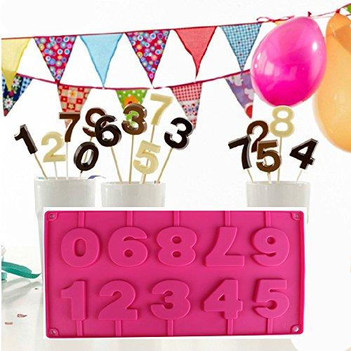 Demarkt Cijferbakvormen van siliconen 10 vormen met de cijfers 0-9 chocolade versiering siliconen gietvorm fondant cakevorm