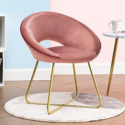 Mid Century Modern Chair for Desk Bedroom Office Guest Accent Velvet Vanity Comfy Upholstered Dining Chairs Home Reception NO Arm Single Sofa for Living Room Teens with Gold Metal Frame Legs 1 Pink