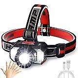 Linterna Frontal LED USB Recargable, Linterna Frontal Alta Potencia, con Luz Blanca y Roja, el Mejor...