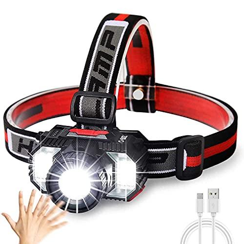 Stirnlampe, Stirnlampe LED Wiederaufladbar USB Wasserdichtes Kopflampe mit Rot Weiß Warnlicht für Arbeit, Outdoor, Camping, Wandern, Angeln