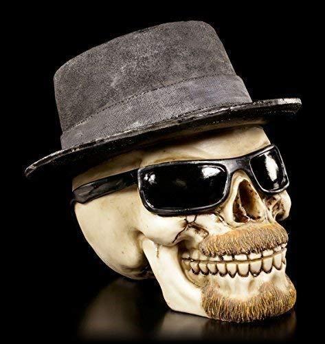Totenkopf Figur mit Hut und Sonnenbrille | Badass groß | Deko Schädel Skull