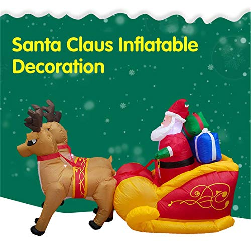 GJ688 Gran autoinflables Elk Trineo de Santa Claus con 5 Luces LED al Aire Libre Patio Jardín Decoración de...