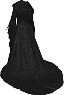 Sodossny-AU Womens Long Sleeve Vintage Medieval Hooded Long Maxi Dress Costumes