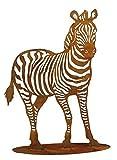 Rostige Gartendeko - Edelrost Metallfigur: Großes Zebra/Dekozebra auf Bodenplatte (Fester Stand) - Höhe 150cm - Rost Deko/Metallzebra