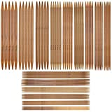 HQdeal 75 Pcs 15 Tamaños Agujas de Tejer de Bambú, Agujas de Tejer de Doble Punta, Agujas de Punto para Principiantes y Profesionales (2.0mm -10.0mm)