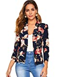 SheIn Women's Floral Shawl Collar Long Sleeve Fitted Open Front Cardigan Blazer X-Large Navy