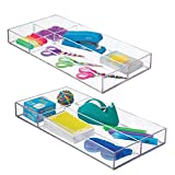 mDesign Plastic Divided Drawer Organizer for Home Office, Desk Drawer, Shelf, Closet - Holds Highlighters, Pens, Scissors, Adhesive Tape, Paper Clips, Note Pads - 4 Sections, 16' Long, 2 Pack - Clear