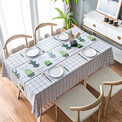 Mantel Blanco Moderno Antimanchas Impermeable Manteles para Cocina Comedor Bodas Fiesta Buffet Navidad Cumpleaños Restaurante Oficinas Decoración del Hogar (Cactus En Maceta,90x90 cm)