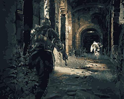 Dark Souls DIY Pintura al óleo por números en Lienzo Pintado a Mano Digital Home Wall Games Artwork para Sala de Estar decoración