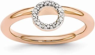 Rose Gold Tone Sterling Silver Diamond 4.4mm Halo Stackable Ring (.09 Ctw, I3 Clarity, H-I Color)