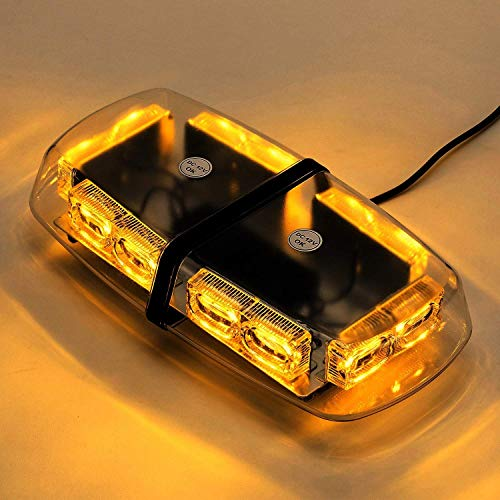 LED Amber Yellow Strobe Light, Emergency Light for Vehicles,Beacon Light for Trucks Emergency Hazard Warning, 36 Watts, 12V/24V, LED Mini Bar Flashing Light with Strong Magnetic Base (16-Modes)