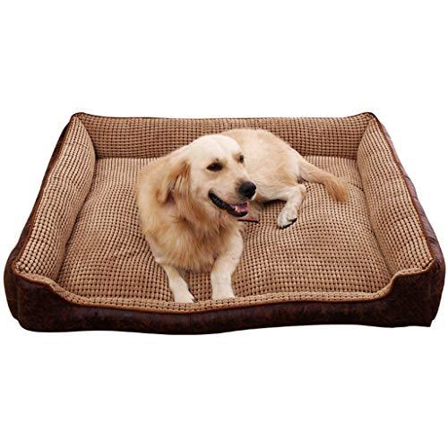 Warm bed, luxe zachte was hond huisdier warm bed, vier seizoenen Universeel, vintage patroon (110x80cmx27cm, koffie) comfortabel, 50x40x20cm