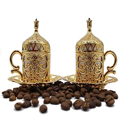 Türkische griechische arabische marokkanische Kaffeetasse – 2er-Set – Espressotasse mit innerem Porzellan-Metallhalter und Deckel – 2 Tassen besteht aus 8 Teilen – beste Geschenkidee (Gold)