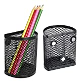 LUCYCAZ Magnetic Pencil Holder for Refrigerator, 2 Pack Metal Basket Pen Holder Locker Organizer for Work School Office, Black