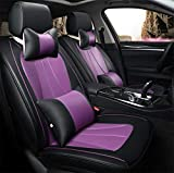 Universal Pu Leather Car Seat Cover 5 plazas Set completo,Púrpura