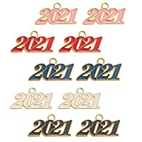 ABOOFAN 10Pcs2021年チャーム番号エナメルチャームペンダント装飾ビーズチャームブレスレットネックレスジュエリー作りミックススタイル