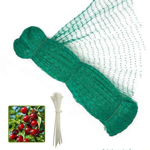 13 x 49 Feet Anti Bird Netting, Green Garden Netting Protect Fruit and Vegetables from Birds and Animals, Bonus 20 PCS Cable Ties - 0.56 in Mesh
