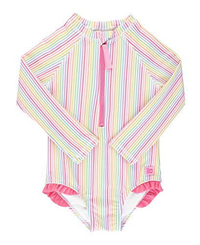 RuffleButts Little Girls Rainbow Stripe Long Sleeve One Piece Rash Guard - 5