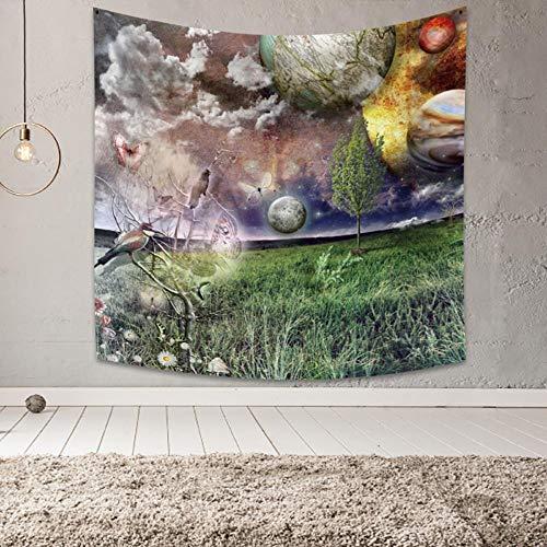 Tapiz de paisaje escandinavo Tapiz colgante de pared Decoración de habitación Decoración bohemia para sala de estar Toalla de playa Manta fina de poliéster 150x150cm