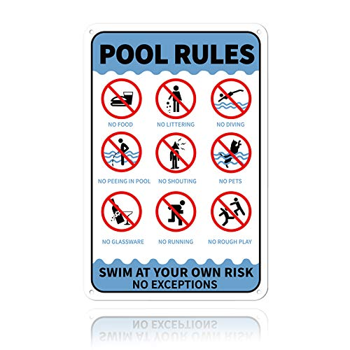 GLOBLELAND Aufschrift Pool Rules Swim at Your Own Risk No Exceptions Unterzeichnen Sie 20x30 cm 0.9 mm Aluminium Warnschild, UV geschützt und wasserdicht