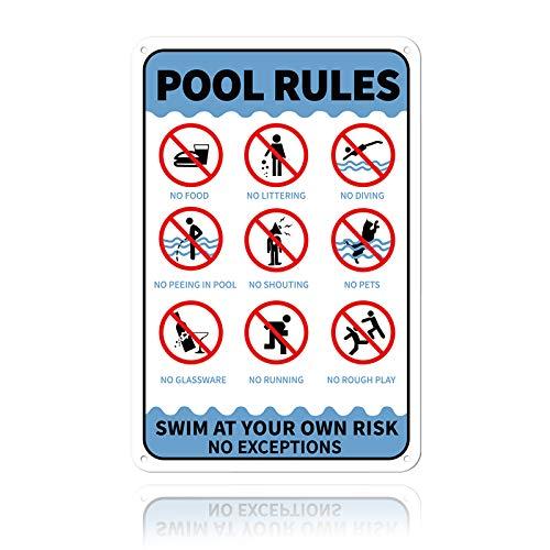 GLOBLELAND Aufschrift Pool Rules Swim at Your Own Risk No Exceptions Unterzeichnen Sie 20x30 cm 0.9 mm Aluminium Warnschild, UV geschützt und wasserdicht