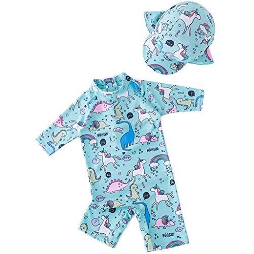 Traje de Baño para Niñas Niños Bañador Bebé Protección Solar UV Unicornio Traje de Buceo Una Pieza Ropa de Natación y Gorra de Natación