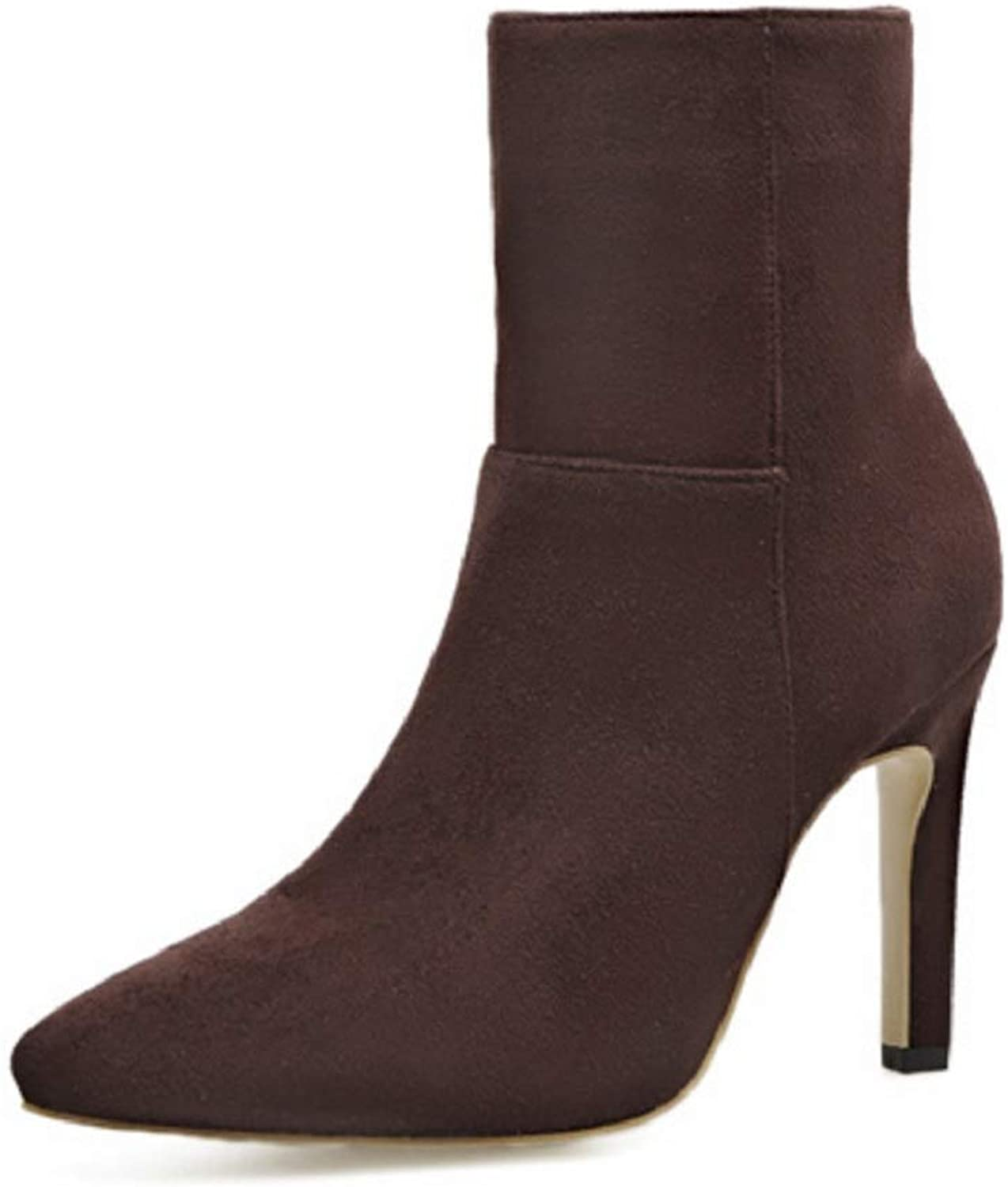 Ladies Women High Heels Ankle Boots  2018 Autumn and Winter New European and American Suede Small Pepper Pointed Head with Ankle Boots
