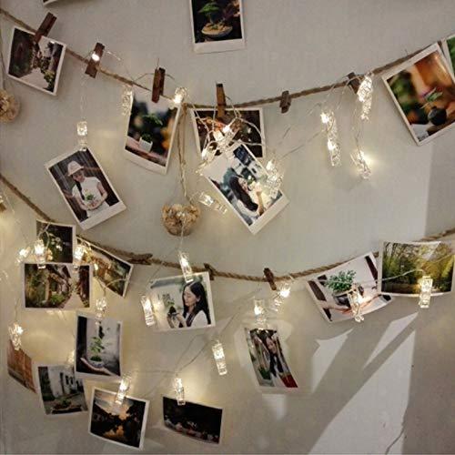 Clip de fotos luz LED cadena de luz batería / USB decoración de fiesta de Navidad luz de hadas batería de cadena 2m10 leds