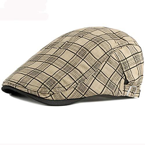 AHECZZ Sombrero,Hombre Newsboy Flat CapBeretSpring Summer Sun Hat 55-60cmadjustable Khaki