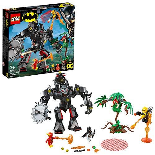 Este juguete de superhéroes incluye 4 minifiguras: Batman, Hiedra Venenosa, The Flash y Firefly El robot de batman cuenta con cabina abatible para una minifigura, brazos y piernas articulados, manos prensiles para apresar minifiguras, cañón doble, si...