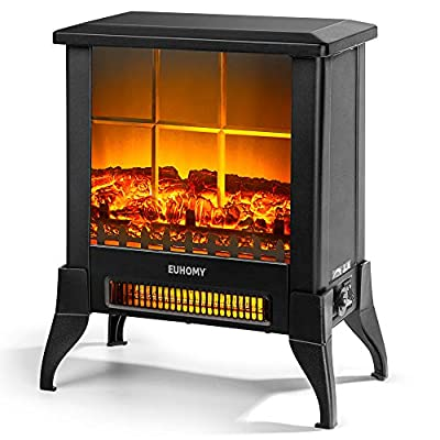 """Euhomy Electric Fireplace Heater, 18"""" Indoor Fireplace Stove with Realistic Flame Effect, 1400W Space Heater for Quick Installation, Overheat Auto Shut Off Safety Function, CSA Certified"""