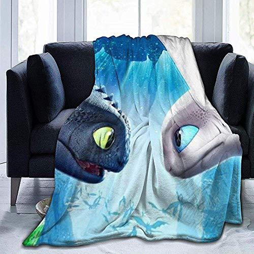 Juli Ultra-Zacht Micro Fleece Gooi Deken Draak-Toothless Light-Fury Warm Voor Bed Sofa Tuin Auto