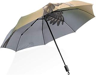 Sketch Lemon With Green Leaves fashion print cute Windproof automatic tri-fold umbrella sun UV protection Sun umbrella