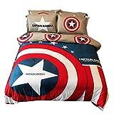 DCWE Expedition Spiderman Captain America Doppelbetten Tagesdecke Bettdecke Anzugstrumpfhose JusticeLeague Weihnachts Geschenk Kinder (200 * 200CM)