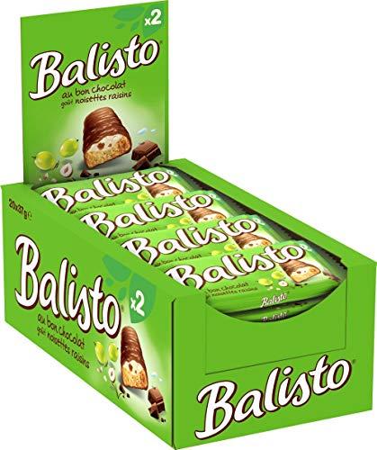 BALISTO - Biscuit Raisins Noisettes enrobée de chocolat au lait - Maxi Pack de 20 Barres