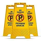 MYSBIKER Señal Prohibido aparcar transportable, No Parking Prohibido Estacionarse, Prohibido Aparcar Pack de 3 Alta Visibilidad para Evitar Accidentes