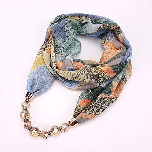 YangJinShan Patrón de Flores de Gasa Bufanda con el Collar, tamaño: 180 x 48 cm (Color : Blue)