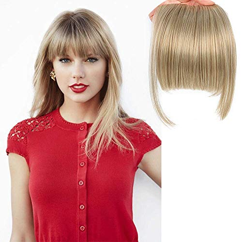 """LEEONS Bangs Clip in Hair Extensions Front Neat Bang Fringe One Piece 6"""" Short Straight Hairpiece for Women Dark Ash Brown mix with Bleach Blonde(18/613#)"""
