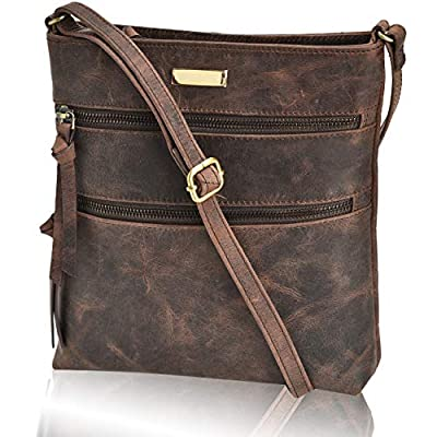 Crossbody Bags for Women - Real Leather Adjustable Shoulder Bag and Travel Purse
