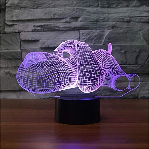 Lámpara de mesa de ilusión 3D, 16 colores cambiantes luz nocturna con control remoto, regalo de cumpleaños para niños y perros