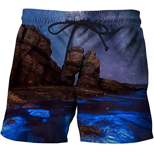 Mens Beach Shorts Snelle Droge 3D Knielen Stone Print Broek met Zakken Bedrukte Zwembroek Casual Surfing Vrije tijd Outdoor Vakantie S-6XL
