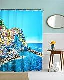 GYMNLJY 3D Landschaft Digital Druck Duschvorhang Polyester Blackout Bad Dusche Rollo für Bad Water-Repellent antibakterielle verdicken Duschvorhänge , 180x180