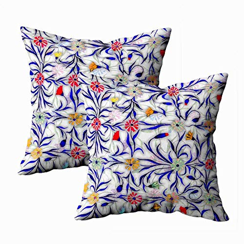 Juego de 2 fundas de almohada para exteriores, 45,7 x 45,7 cm, diseño de flores, flores, fondo claro, acianos brillantes, decoración del hogar, fundas de almohada con cremallera para sofá