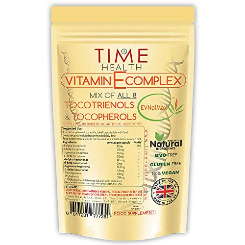 Vitamin E Complex - All 8 Tocopherols & Tocotrienols - 60 Pullulan Capsules - Natural - Plant-Based - Vegan - No Fillers, Binders or Flow Agents (60 Capsule Pouch)