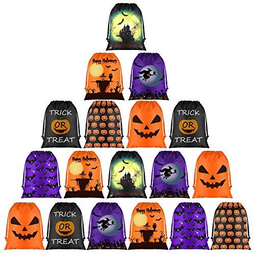 FEPITO Bolsas de Dulces, Bolsas Golosinas con Cordón de Halloween, Bolsas de Halloween para Suministros de Fiesta de Halloween (18 Pcs)