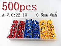 FANTAT 500pcs Vinyl Female Male Quick Disconnect Wire Terminals Red Blue Yellow 22-10 AWG Ga Connectors
