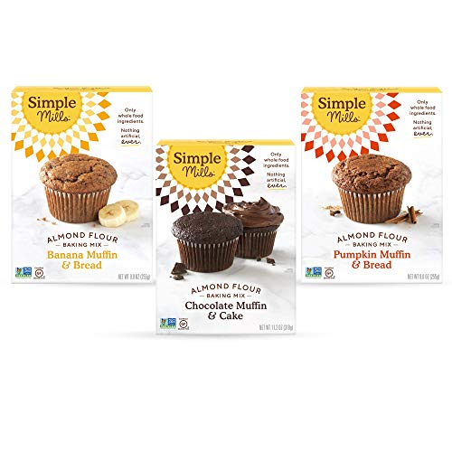 Simple Mills, Baking Mix Variety Pack, Banana Muffin & Bread, Chocolate Muffin & Cake, Pumpkin Muffin & Bread Variety Pack, 3 Count (Packaging May Vary)