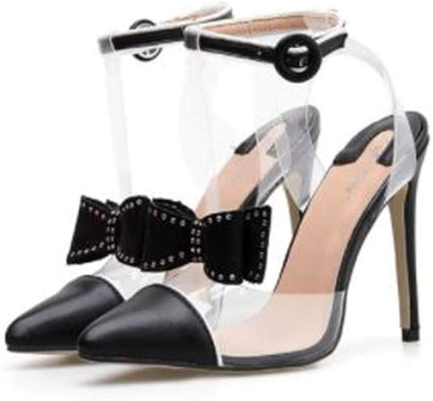 WYQQ Bow Pointed Stiletto high Heel Transparent shoes Sandals Suitable for Women